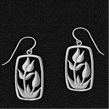 Tulip Pewter Drop Wire Earrings | Lovell Designs