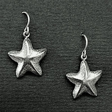 Starfish Pewter Drop Wire Earrings