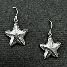 Starfish Pewter Drop Wire Earrings