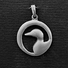 "Loon Pewter Pendant ""Midnight"""