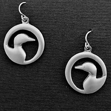"Loon Pewter Drop Wire Earrings ""Midnight"""