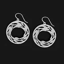 Circle of Life Pewter Drop Wire Earrings