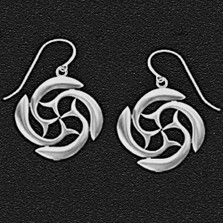 "Dolphin Pewter Earrings ""St Brendan's Cross"""
