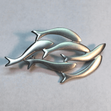 "Fish Pewter Pin ""Cold River Run"""
