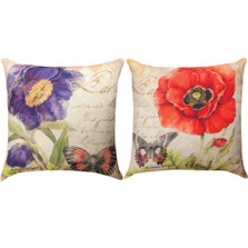 Poppy Red and Purple Reversible Indoor/Outdoor Pillow | Manual Woodworkers | SLPOPR