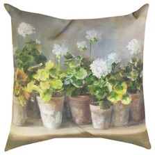 White Geraniums Indoor/Outdoor Pillow | Manual Woodworkers | SLWGER