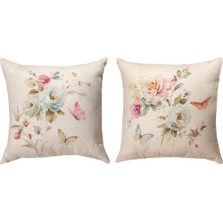 Flower and Butterfly Reversible Indoor/Outdoor Pillow | Manual Woodworkers | SLBROM