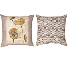 Honey Bee and Flower Reversible Throw Pillow | Manual Woodworkers | SLNLHB
