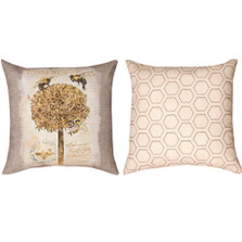 Bumble Bee and Flower Reversible Throw Pillow | Manual Woodworkers | SLNLBB