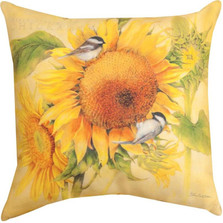 Chickadee and Sunflower Indoor/Outdoor Pillow | Manual Woodworkers | SLFAST