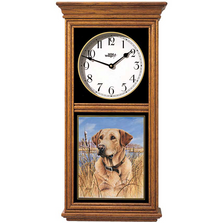 Yellow Lab Oak Wood Regulator Wall Clock | Wild Wings | 5982660156
