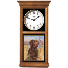 Chocolate Lab Oak Wood Regulator Wall Clock | Wild Wings | 5982660256