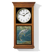 "Tarpon Oak Wood Regulator Wall Clock | ""Taking a Fly"" 