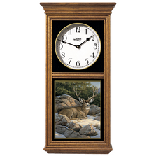 Deer Oak Wood Regulator Wall Clock | Rocky Outcrop | Wild Wings | 5982662365