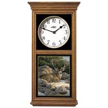 Deer Oak Wood Regulator Wall Clock | Rocky Outcrop | Wild Wings | 5982662365