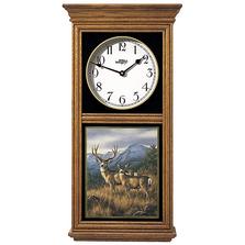 Deer Oak Wood Regulator Clock | Crossing the Ridge | Wild Wings | 5982662465