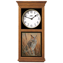 Great Horned Owl Oak Wood Regulator Wall Clock | Wild Wings | 5982662530