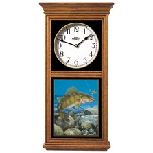 Walleye Fish Oak Wood Regulator Wall Clock | Stinger Hooked | Wild Wings | 5982662550