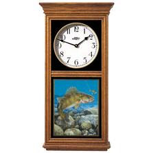 Walleye Fish Oak Wood Regulator Wall Clock | Stinger Hooked | Wild Wings | 5982662550