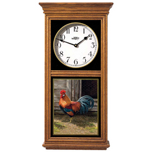 Rooster Oak Wood Regulator Wall Clock | Wild Wings | 5982662580