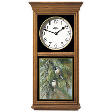Chickadee in Fir Oak Wood Regulator Wall Clock | Wild Wings | 5982662637