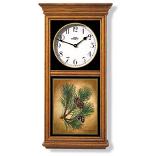 Red Pine Cone Oak Wood Regulator Wall Clock | Wild Wings | 5982662691