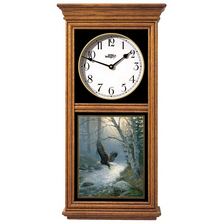 Eagle Oak Wood Regulator Wall Clock | Spring Run | Wild Wings | 5982662732