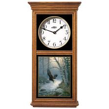 Eagle Oak Wood Regulator Wall Clock | Spring Run | Wild Wings | 5982662732