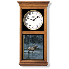 Elk in Snow Oak Wood Regulator Wall Clock | Wild Wings | 5982662766