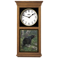 Black Bear Oak Wood Regulator Wall Clock | Northwoods | Wild Wings | 5982662875