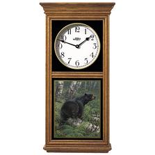 Black Bear Oak Wood Regulator Wall Clock | Northwoods | Wild Wings | 5982662875