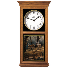 Deer Oak Wood Regulator Clock | Leaving the Sanctuary | Wild Wings | 5982663735