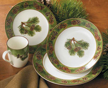 Pinecone 16 Piece Dinnerware Set | Wild Wings | 8955209101