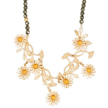 "Deco Daisy 16"" Adjustable Necklace on Pyrite 