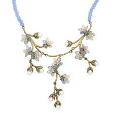"Forget Me Not 16"" Triple Dangle Necklace on Chalcedony 