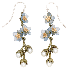 Forget Me Not Triple Flower and Pearl Dangle Wire Earrings | Michael Michaud Jewelry | 3270bzwp