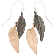 Persian Shield Two Tone Double Leaf Wire Earrings | Michael Michaud Jewelry | 3265bz
