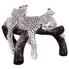 Leopard Mother and Cubs on Branch Silver Plated Sculpture | 8042 | D'Argenta