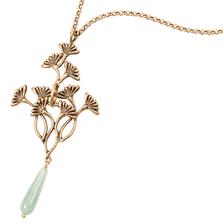 "Vintage Dandelion 26"" Necklace with Jade   Michael Michaud Jewelry   N216"