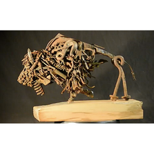 "Bison Metal and Wood Sculpture ""Drifter"" 