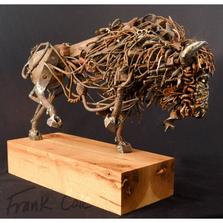 Bison Found Metal Sculpture | Mayhem | Frank Cole Art | FCSM