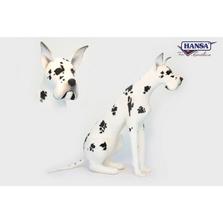 Harlequin Great Dane Stuffed Animal | Plush Dog Statue | Hansa Toys | HTU3762