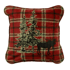 Moose Plaid Border Throw Pillow | Denali | DHC35064218