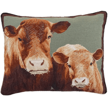 Cow and Calf Needlepoint Down Throw Pillow | Michaelian Home | MICNCU950