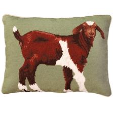 Billy Goat Needlepoint Down Pillow | Michaelian Home | MICNCU798