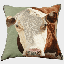 Hereford Cow Needlepoint Down Pillow | Michaelian Home | MICNCU186