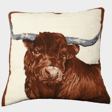 Steer Needlepoint Down Throw Pillow Red | Michaelian Home | MICNCU185
