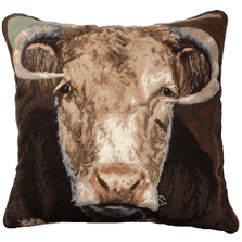Bull Needlepoint Down Throw Pillow | Michaelian Home | MICNCU199