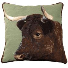 Cow Needlepoint Down Throw Pillow | Michaelian Home | MICNCU198