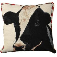 Holstein Cow Needlepoint Down Throw Pillow | Michaelian Home | MICNCU197
